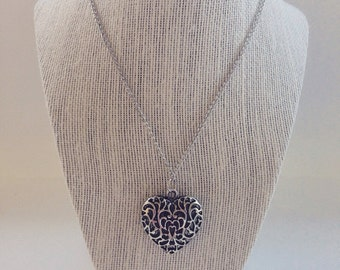 Large Antique Finish Filigree Heart Pendant