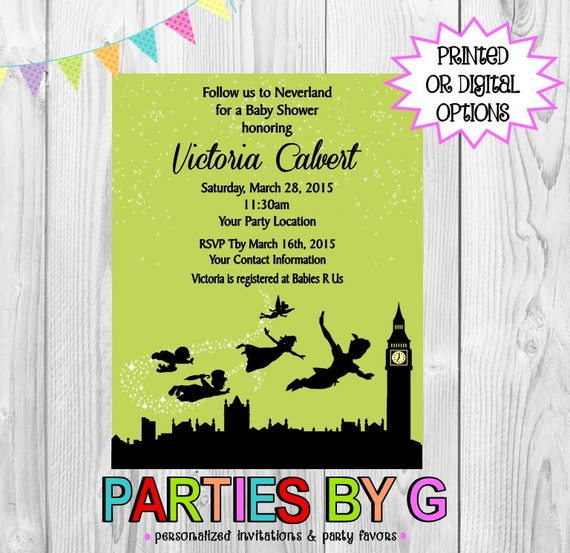 peter pan baby shower or birthday party any color invitations invites