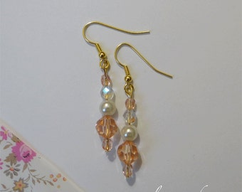 Crystal Earrings salmon