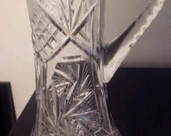 Tall Crystal Pitcher, Pinwheel Design