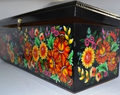 Black Jewelry box, painted in Ukrainian traditional authentic style, magic flowers