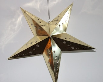 Paper Star Gold Foil Hanging Decoration