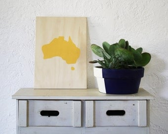 Gold Lustre Australia Acrylic Screen Print on Plywood
