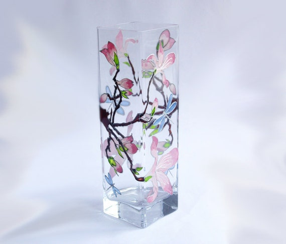 painted glass vase decorative glass vase pink magnolia by