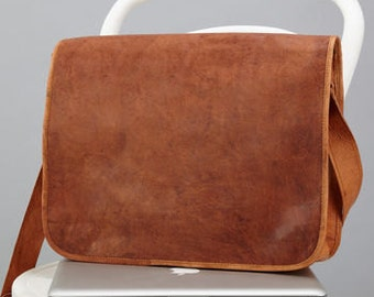 "Leather Messenger Bag - Size: 15""x11"" By Vida Vida"