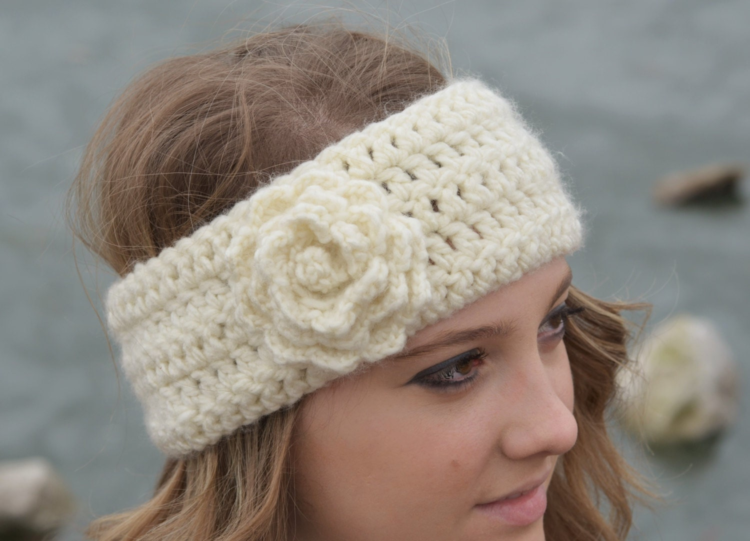 Crochet Pattern Rose Ear Warmer by ExpressiveEndeavor on Etsy