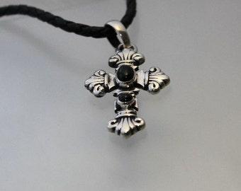 Gothic Cross Pendant Black Onyx Stones Sterling Silver