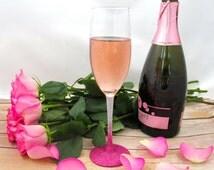 Bold Ombre Glitter Champagne Glass, Custom, Dishwasher Safe, Glittery, Cute, Party, Girly, Birthday, Bachelorette, Wedding, Bride, Shower