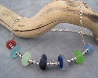 Sea Glass Necklace - Collar Style - Multi Color Sea Glass -Beach Glass - English Sea Glass - Choker