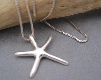 Starfish Pendant - Sleek - Silver Starfish - Beach Inspired - Contemporary - Summer Style - Silver Starfish - Starfish Charm - Star Fish