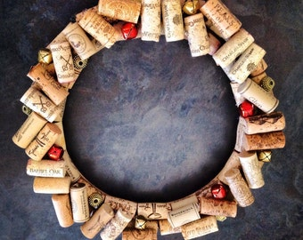 """Whimsical """"Scattered"""" Cork and Bell Wreath"""