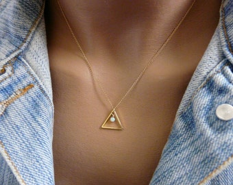 Triangle necklace, Geometric necklace, Opal necklace, Everyday necklace, Minimalist necklace, Delicate necklace