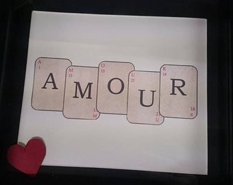 Handmade amour love playing card  frame