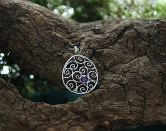 filigree work spiral pendant in elliptic form - with amethyst - made with love