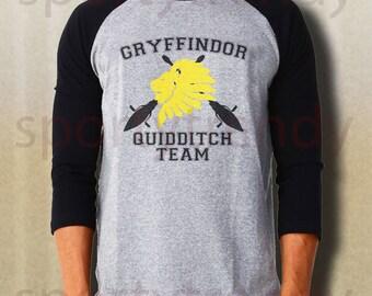 Gryffindor shirt Gryffindor Quidditch baseball tee gray IDAE