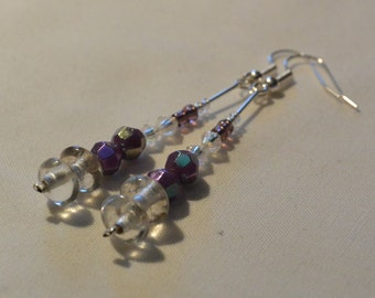 Purple and clear beaded dangle earrings