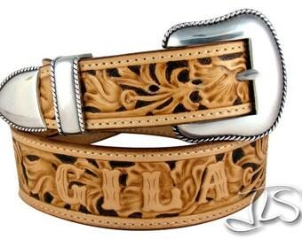 Western Floral Hand Tooled Leather Belt Custom Carved