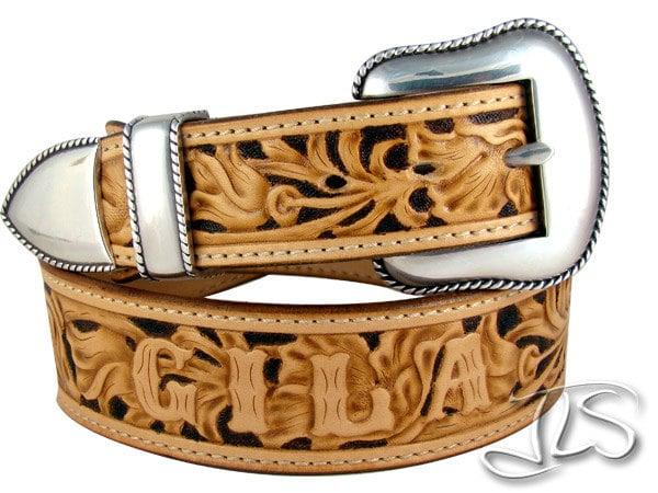 western floral tooled leather belt custom carved