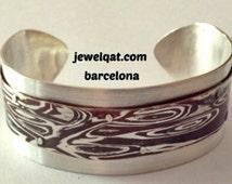 brazalete abierto  de plata y cobre