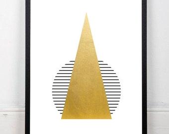 Gold decor, gold print, geometric print, triangle print, gold foil, minimalist print, gold and black, nursery art, instant download, 18x24