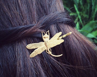 Dragonfly Bobby Pin Gold Dragonfly Hair Pin Animal Hair Clip Nature Accesories