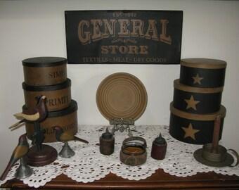 "Primitive~Vintage Distressed Wood Sign~General Store 9.25"" x 20"""