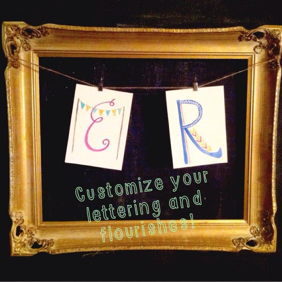 Custom watercolor letters - watercolor - nursery decor - childrens room - name letters - initials - monogram
