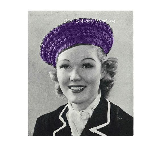 vintage crochet pattern 1930s s tam hat pdf by