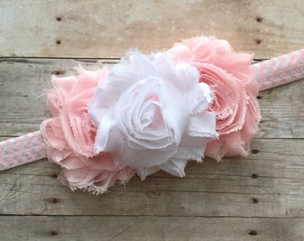 Baby Girl Headband, Shabby Chic Headband, Baby Headband, Pink Headband, White headband, Newborn Headband, Chevron Headband, Toddler Headband