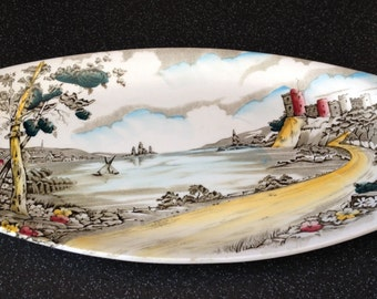 "Vintage British Anchor Alton ""LAKESIDE"" Long Sandwich/Cake Plate, Ironstone England."