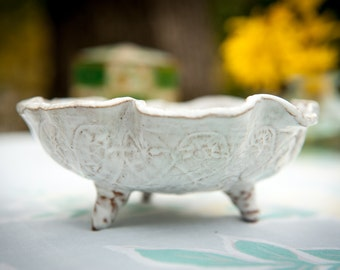 White Glazed Free Standing Handbuilt Ceramic Pedestal Dish- PERFECT HOLIDAY GIFT!