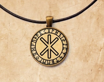 Occult pendant Odin's protection jewelry Rune necklace