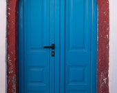 Blue door, Red arch, Vintage, Historical, Santorini, Oia, Fira, Fine art print, Wall art print, 8x12 - The red arch