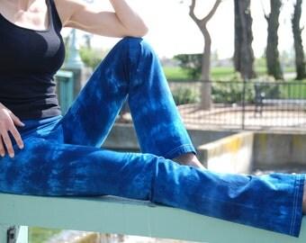 Blue Tie Dye Yoga Pants by Splash Dye Activewear