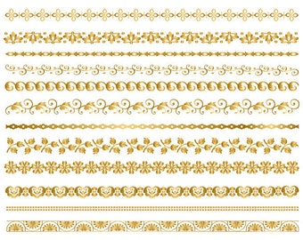 GOLD Digital Border Clip Art Digital Flourish Swirl Border Clip Art Gold Flower Border Scrapbooking Embellishments Decor Invitation DIY 0107
