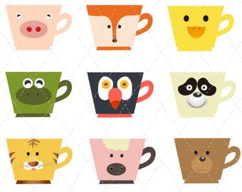 Digital Animal Cup Clip Art Animal Cup Clipart Digital Cup Clip Art Coffee mug Clipart Animal Coffee Mug Clip Art Animal Tea Cup 0147