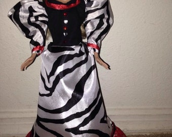 zebra fashion gown for Barbie