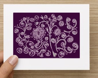 Blank Notecard - Purple Floral Expressions