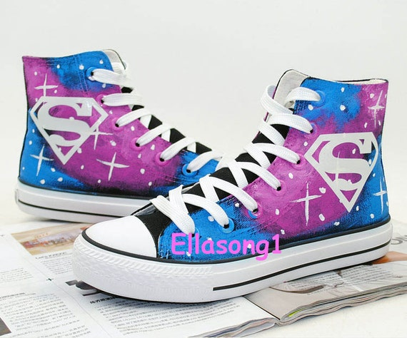 painted galaxy canvas shoes casual painted superman