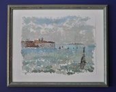 Original oil painting, landscape oil painting, Venice, Italy