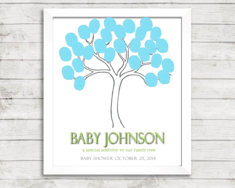 fingerprint tree baby shower gender neutral baby thumbprint