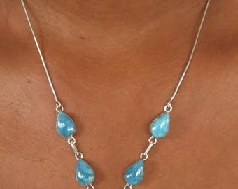 Larimar necklace with 5 stones.