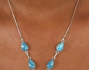 Larimar necklace with 5 stones.