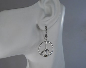 Sterling Silver Peace Sign Earrings, Large Peace Sign Earrings, Hippie Jewelry, Made in Montana Gift for Her