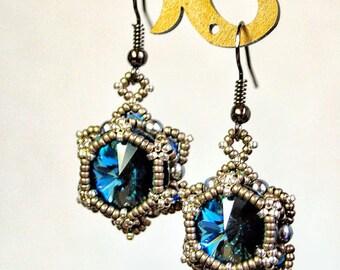 "Jewelry- handmade jewelry – beaded earrings - crystal swarovsky color ""Montana"""