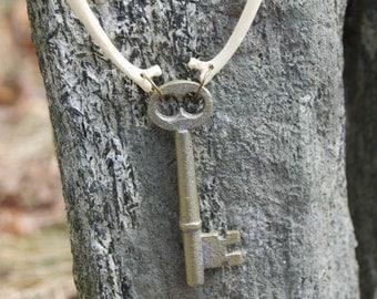 vintage key and fox rib bone necklace