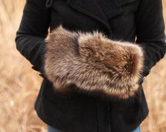 Genuine Fur Handwarmer / Muff - Racoon