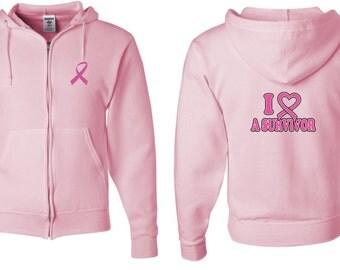 Breast Cancer Awareness Men's Hoodie Pink Ribbon I Heart a Survivor Front & Back Print Full Zip Hoody FBIHAS-993