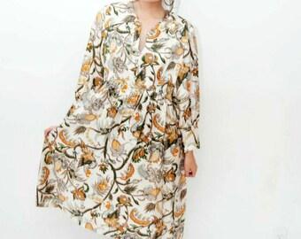 70's hand-made mid-length paisley print dress