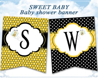Bumble bee Baby shower banner bunting Sweet baby babee Instant download banner